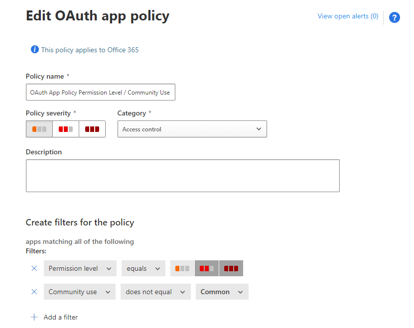 Cloud App Security Portal OAuth Policy